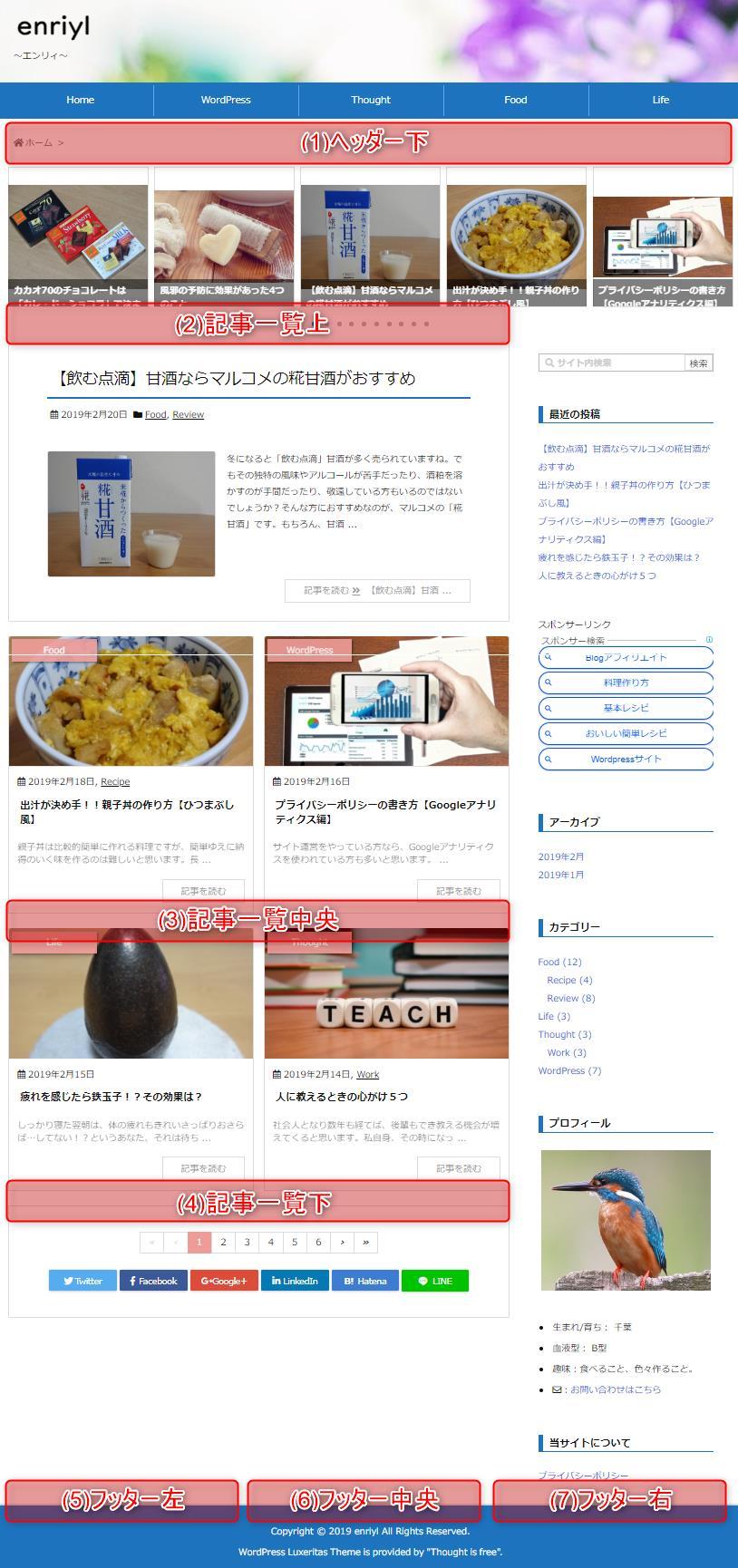 広告表示位置 ホームページ