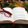 開いた本の上にある赤い眼鏡